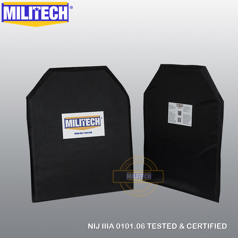 MILITECH 11 X 14 Shooters Cut NIJ Level 3A NIJ 0115.00 Level 2 Stab Resistant Bulletproof Plate Aramid Soft Ballistic Panel Pair