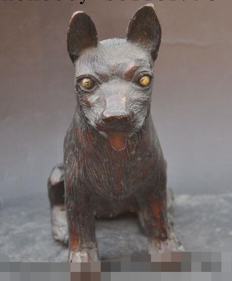 "S3555 6"" Chinese fengshui Bronze Animals Zodiac FengShui Wealth Faithful Dog Statue"