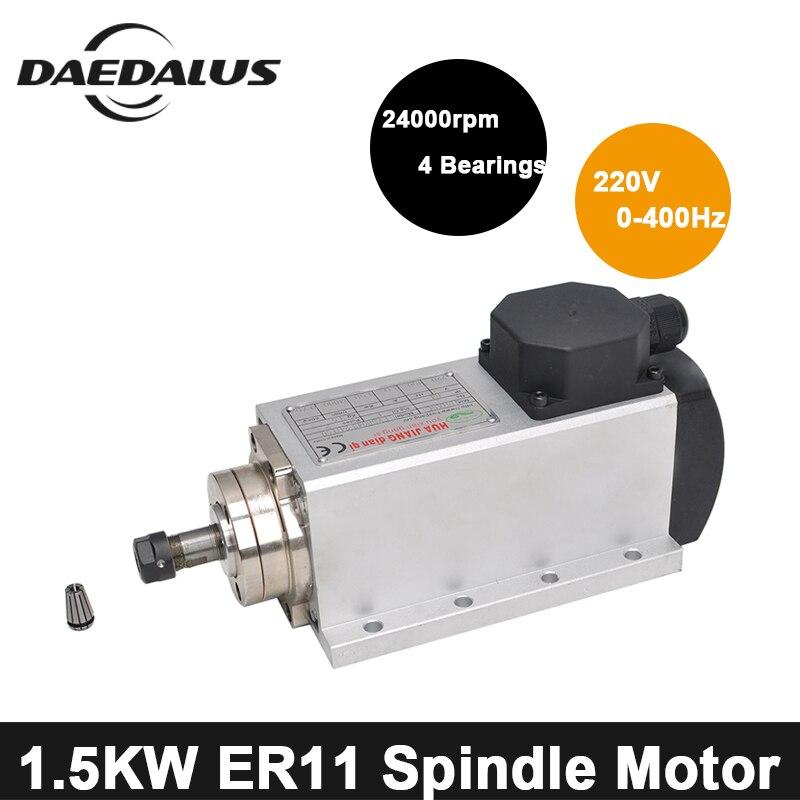 CNC Spindle 1 5KW 220V Motor Air Cooled Spindle Motor ER11 Collet Chuck Wood Router Machine