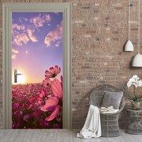 3D Flower Landscape Poster PVC Waterproof Entire Door Sticker Creative Stickers Door Wall Sticker DIY Mural Bedroom Home Decor