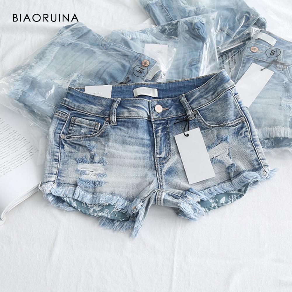 BIAORUINA Women Fashion Scratched Washing Bleached Denim   Short   Female High Waist Casual Holes   Short   Tassels Summer   Shorts