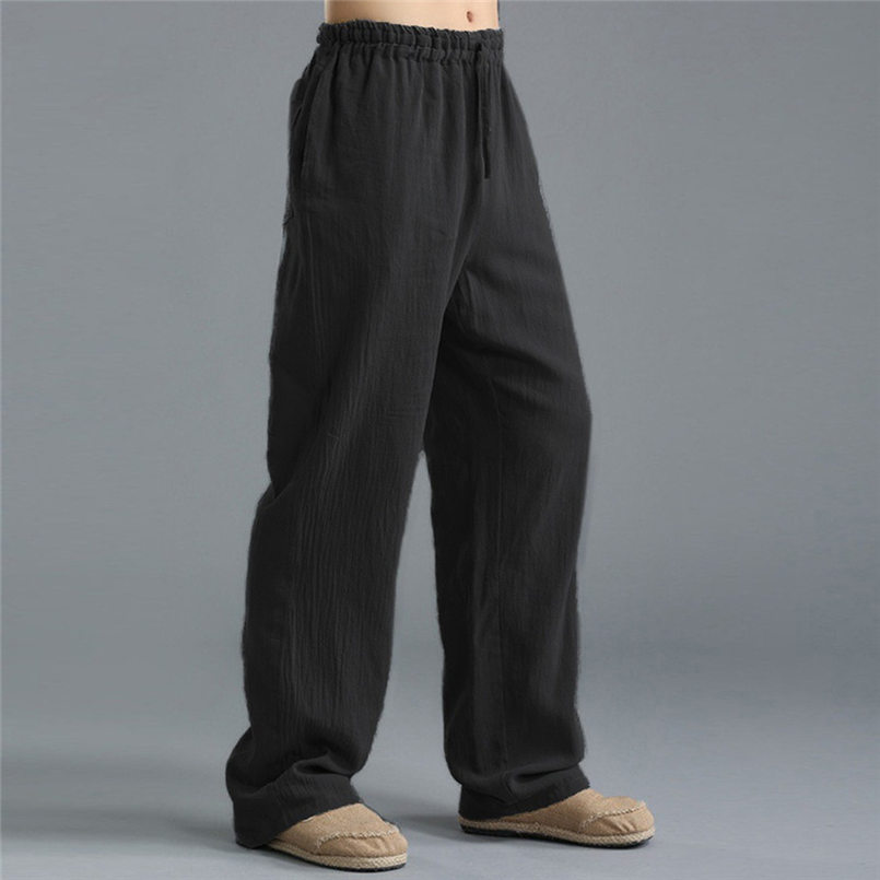 New Men Summer Fashion Trousers Linen Style Loose Casual Breathable Outdoor Solid Pants Sportswear Casual Straight Pants #4R06 (7)