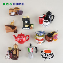 Creative 3D Coffee Accessories Fridge Magnet Cartoon Moka Pot Coffee Cup Shaped Magnetic Note Adsorption Decoration(China)