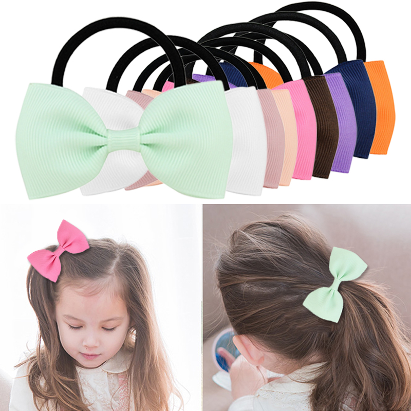 Solid Colorful Elastic Hair Bands Girls Ribbon Bows Girls Hair Circle Tie Rope Hair Accessories   Headwear   Holiday Gifts