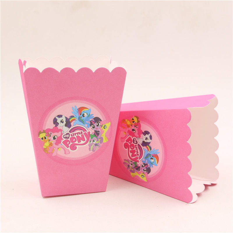 Us 2 39 6pcs Lot Paper Popcorn Candy Favor Box Cup My Little Pony Theme Children Girls Birthday Party Decorations Lot Of Baby Shower In Gift Bags