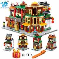 4 In 1 Blocks Mini Street Store Chinese Style Chinatown Building Bricks Toys Cute Micro Shop Model Compatible legoingery City