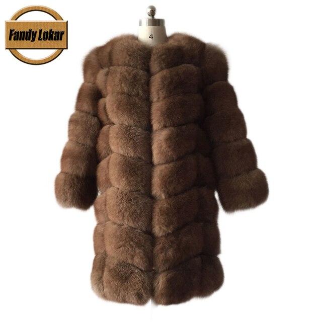 FL Nueva Marca 85 cm Longitud Genuino de Piel de Zorro Abrigos de Invierno 2016 mujeres Piel Real de la Chaqueta Larga Caliente Mujeres Natural Fox Abrigos De Piel de Las Señoras