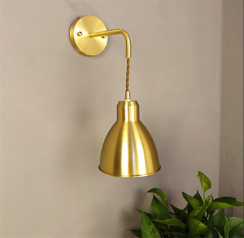 Nordic modern style personality living room aisle lamp creative bedroom bedside lamp background Cafe brass wall lamp