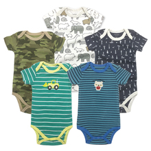 5 pcs/lot Baby Short-sleeve rompers baby boy jumpsuit Newborn cotton romper Jumpsuits & Rompers