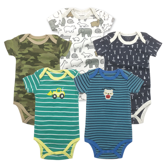 aa32def39 5 pcs lot Baby Short sleeve rompers baby boy jumpsuit Newborn baby ...