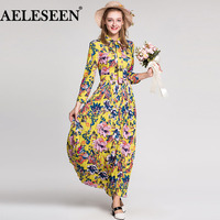 Boho Holiday Newest Women Dresses European Full Sleeve Bow Fashion 2018 Floral Dress Summer Yellow Pleated Print Long Dress