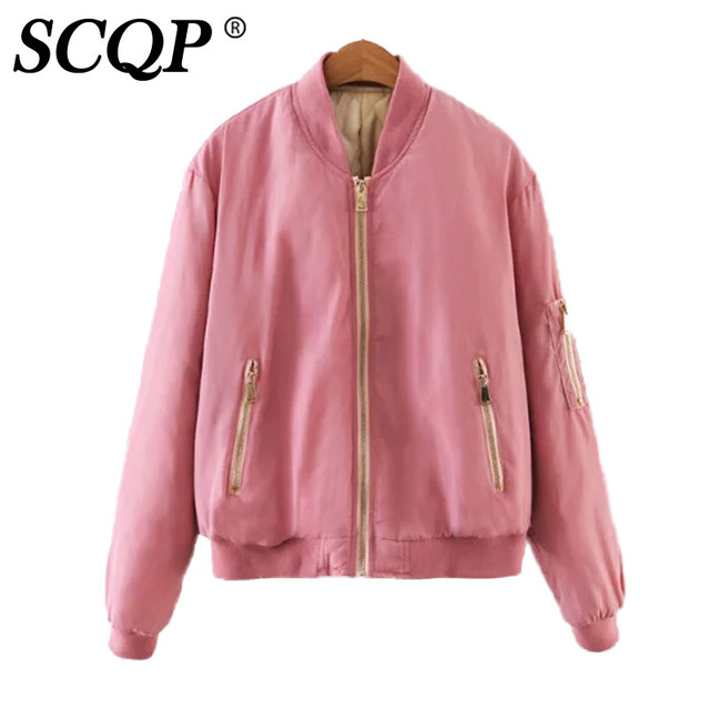 check out 61e85 8b9e1 US $30.93 |Fashion Solid Rosa Reißverschlüsse Satin Bomberjacke Student  College Short Armee Jacke Frauen Winter Damen Casual Frauen Basic Mäntel in  ...
