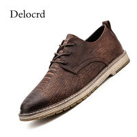 Newest Autumn 2018 Men Casual Leather Men Shoes Vintage Wood Grain Lace Up Platform Leather Men Oxford Shoes Drop S