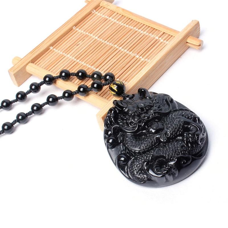 Natural Black Obsidian Carved Big Round Dragon Pendant Necklace Fashion Men Women Lucky Pendant Large Raptors Evil Accessories