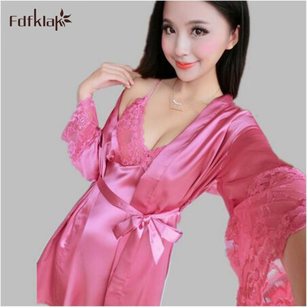 Женщины пижамы набор сатин белье сексуальные халаты для женщин с длинным рукавом весна осень женские платья халаты наборы A169