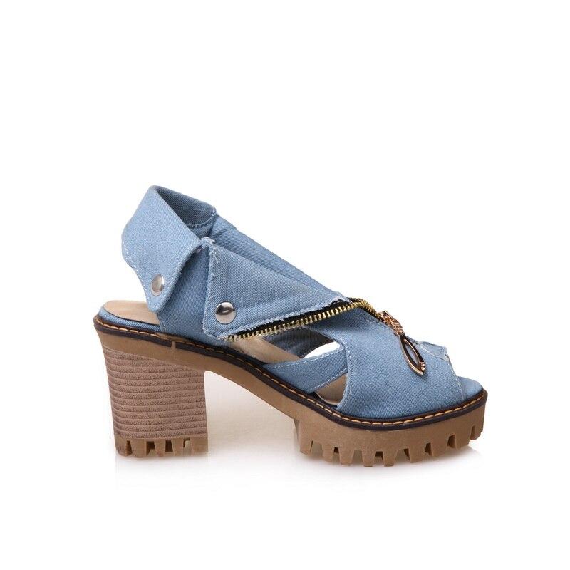 Mezclilla Gran Sandalias Cdpundari Azul Tacón Alto Zapatos Ete Con Mujer Tamaño Cielo Femme Verano Plataforma Para Cremallera De Chaussures 2018 azul wtdq7dF
