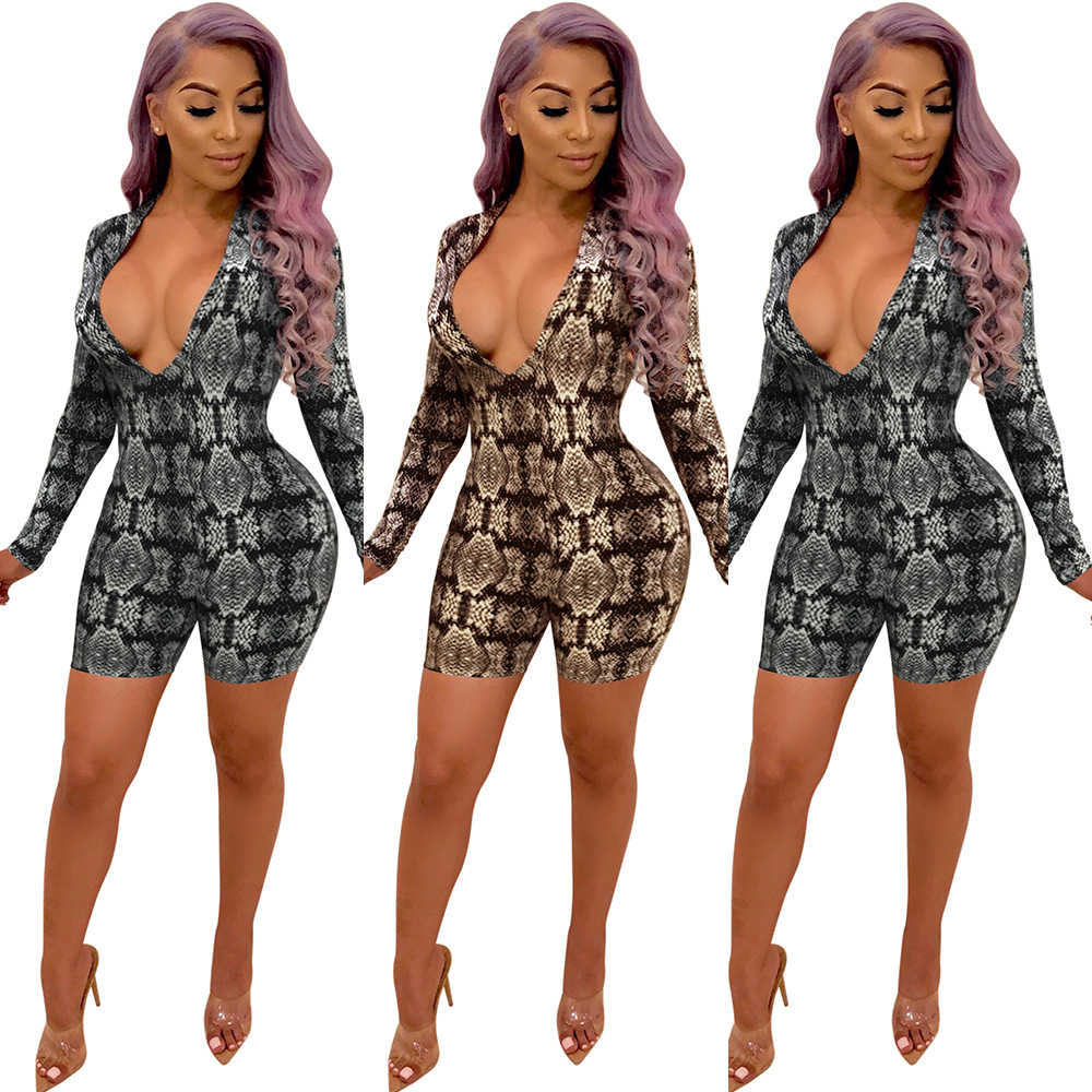 Women Sexy Bodycon Playsuit Snake Skin Print V neck Slim Long Sleeve Jumpsuit Woman Sexy Club Outfit Ladies Sexy Party Jumpsuit in Rompers from Women 39 s Clothing