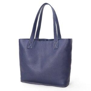 Image 5 - Sac à main en cuir véritable pour femmes, sac bonne qualité de luxe, sac de Shopping Simple pour dames, sacs épaule en cuir de vache de grande capacité décontracté