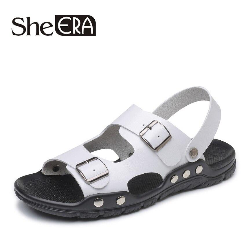 Luxury Classics Summer Shoes Men Sandals 2018 Fashion Male Sandalias Beach Shoes Soft Bottom Breathable Leather Sandals Flats
