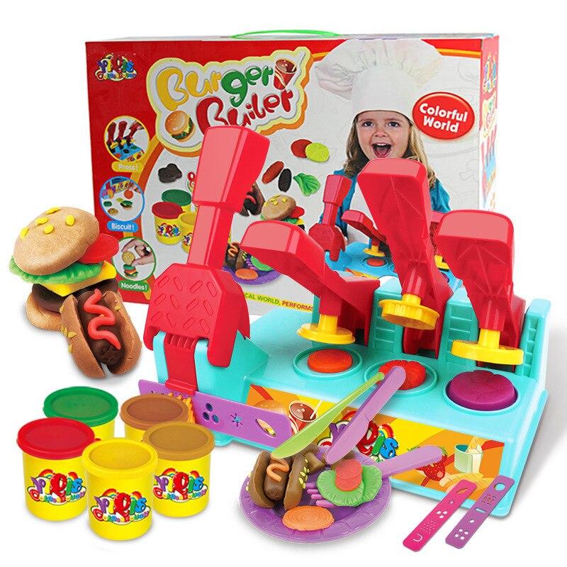 Grand hamburger modèle ensemble combinaison pâte à modeler colorée sûre dynamique duveteuse pâte à modeler en plastique argile pour jouet fait main