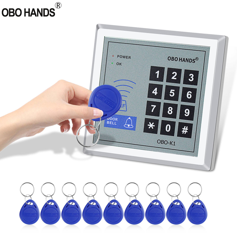 Standalone RFID Access Controller 125KHz Smart Card Reader Keypad with 10 EM4100/4200 Keychains For Home Door Lock System WG26 rfid 125khz access control keypad smart card reader door lock system with tk4100 keychains support 3000 users for home apartment