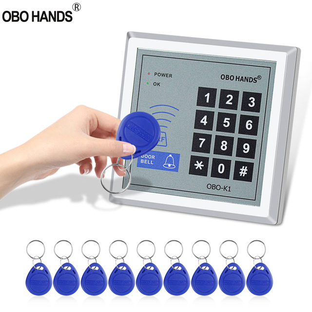 Standalone RFID Access Controller 125KHz Smart Card Reader Keypad with 10 EM4100/4200 Keychains For Home Door Lock System WG26