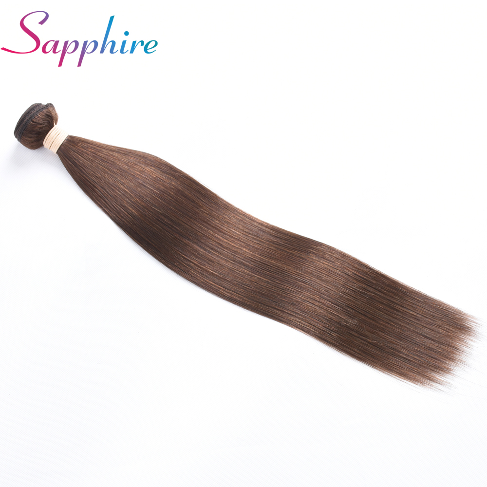 Sapphire Hair 100% Human Hair Bundles Brazilian Straight Hair Weave 1 Piece 4# Brown Color 8-28 Inch Free Shipping