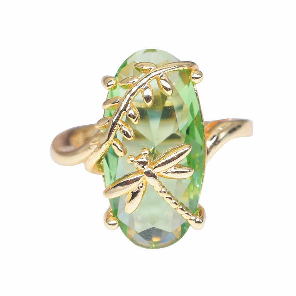2019 New Dragonfly Design Gold Wedding Ring Transparent Peridot Stone Rings Luxury Engagement Ring For Women Jewelry Bijoux Gift