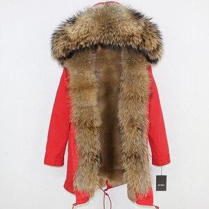 Image 4 - OFTBUY 2020 uzun Parka gerçek doğal rakun kürk ceket kış ceket kadınlar Streetwear giyim kalın sıcak rahat büyük kürk yaka