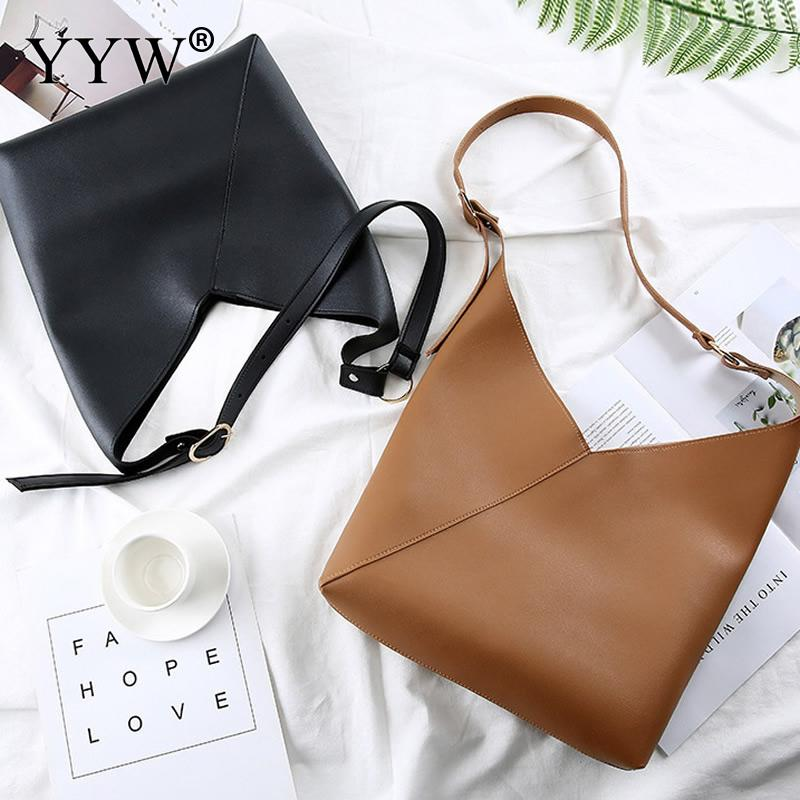 YYW New Pu Leather Solid Women Crossbody Bags Fashion Simple Shoulder Bag Korean Large Capacity Tote Bag For Lady Bolsas Hot