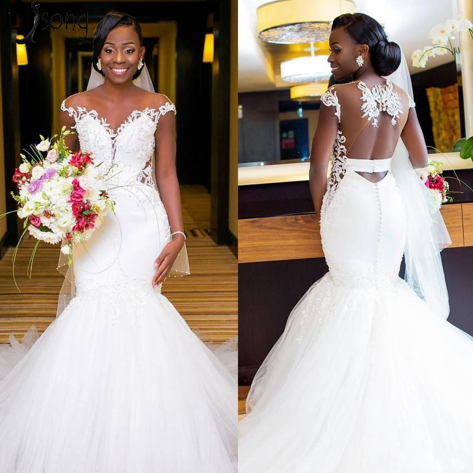 New Arrival African Mermaid Wedding Dresses 2019 Illusion Backless Applique Lace Court Train Mermaid Bridal Dress Wedding Gowns
