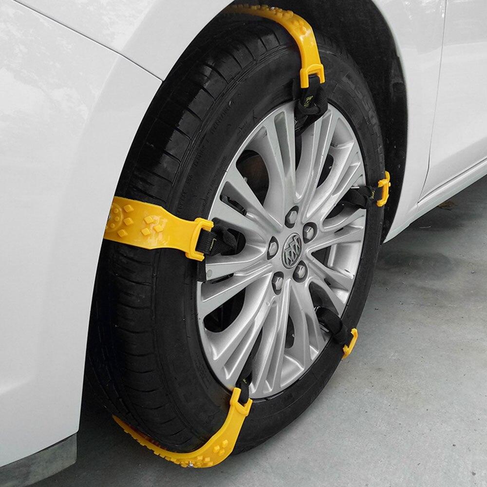 5 шт. противоскользящие цепи пояс для снежной шины прочная цепь для снега зимние аксессуары для вождения желтый ТПУ утолщенный Универсальный