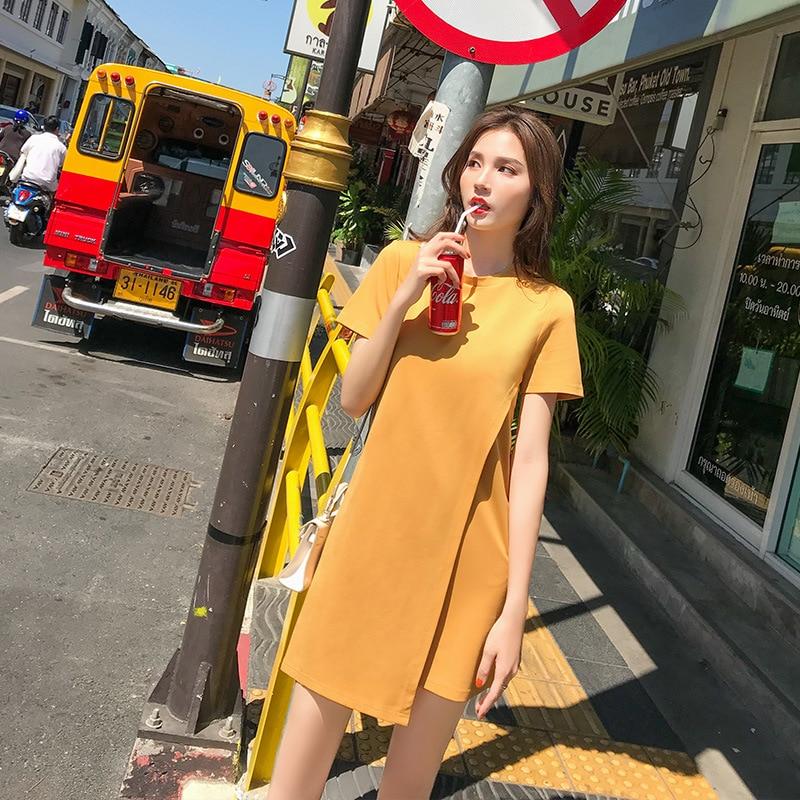 2019 robe d'été Sexy de Fronde solide bouton Élégant Robes