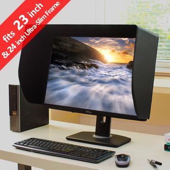 ILooker 23E 23 cal i 24 cal ultra-Slim rama Monitor LCD LED kaptur osłona przeciwsłoneczna filtrowanie słoneczne dla Dell HP EIZO Viewsonic obsługi Philips Samsung tanie i dobre opinie 20 530-550mm 23-inch and 24-inch Ultra-Silm Frame Monitor PU and Flocking