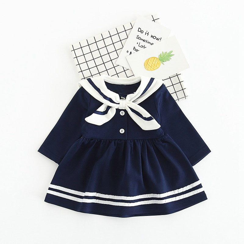 Spring Baby Toddler Long Sleeve Lapel Collar Bow Navy Style Cotton Girls Dress Infant Birthday Party