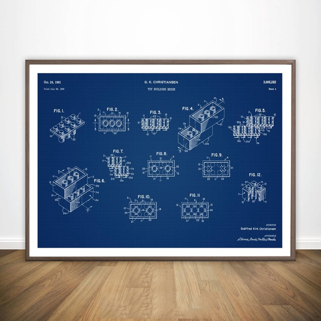 Legos original patent blueprint wall art paint wall decor canvas legos original patent blueprint wall art paint wall decor canvas prints canvas art poster oil paintings malvernweather Images