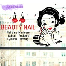 DCTAL Nail Art Sticker Beauty Salon Decal Shop Store Business Wall Art Stickers Decal DIY(China)