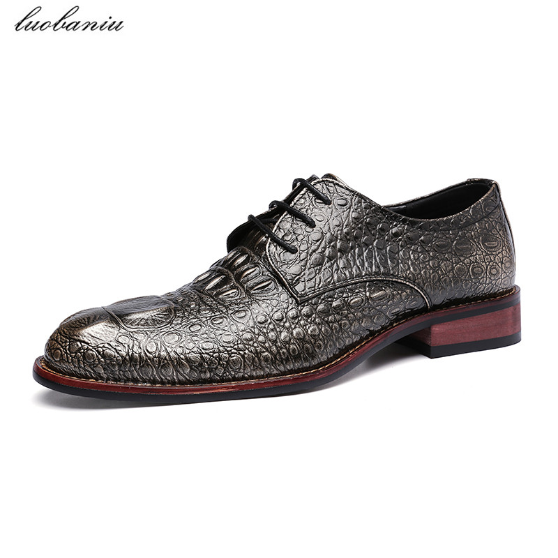 Vintage Men Oxfords For Men Dress Shoes Pointed Toe Leather Shoes Crocodile Black Red Gray