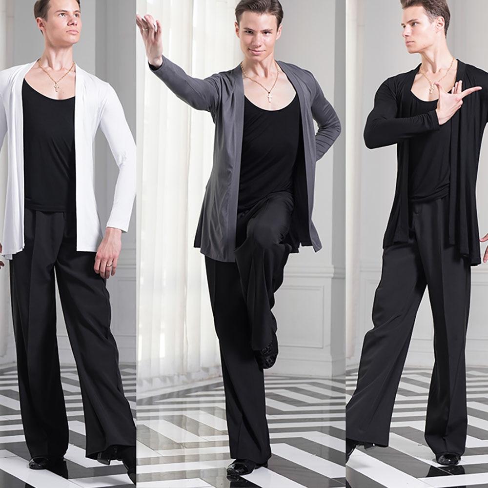 Economic Latin Dance Shirts For Males Black White Gary Latin Tops Men Adult Teacher Professional Ballroom