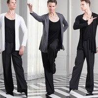 Economic Latin Dance Shirts For Males Black White Gary Latin Tops Men Adult Teacher Professional Ballroom Hot Sale Wears B046