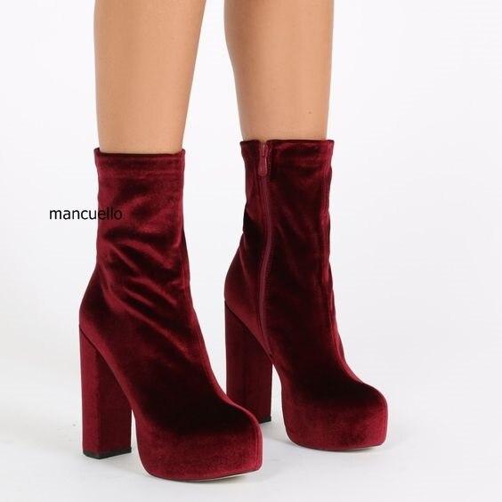 Gorgeous Women Soft Velvet Burgundy Block Heels Ankle Boots Simply ...