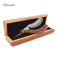 Dscosmetic Damascus Steel Razor Folding Knife,High Quality,Best Gift wood Handle Straight Razor For Mans Barber