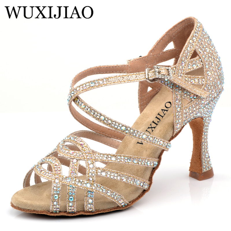 WUXIJIAO Gold Silver Rhinestone Latin Dance Shoes Women Salas Ballroom Shoes Pearl High Heel 9cm Waltz Software Shoes Hot Sale