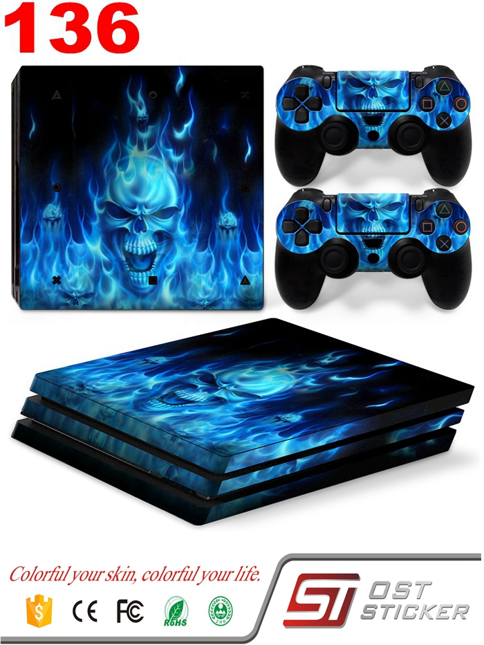 OSTSTICKER Blue Skull And Fire Removable Vinyl Pattern Skin Decal For PlayStation 4 Pro PS4 Pro & 2Pcs Sticker Controller Cover