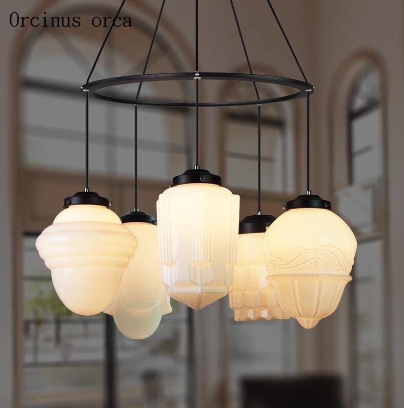 European Retro Glass Cream Chandelier Living Room Dining Room Nordic Modern Simple LED White Bird Lantern Chandelier