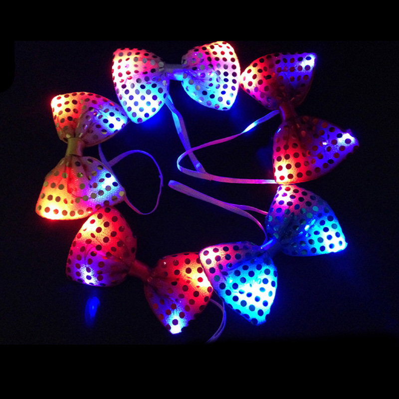 trend nightclub fashion led lights glow bow tie clothing accessories solid color gentleman shirt neck