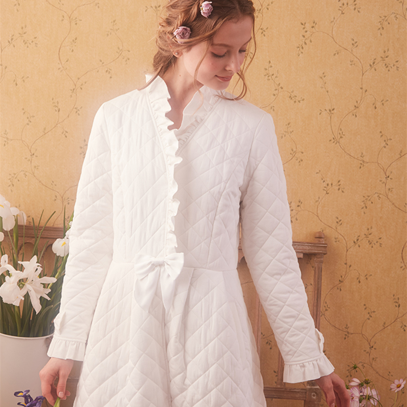 Image 2 - Winter Robe Sleepwear Ladies Cotton Long Robe Women Vintage Sleepwear Women Sleep Homewear Ware Nightgown Robes High quality-in Robes from Underwear & Sleepwears on AliExpress