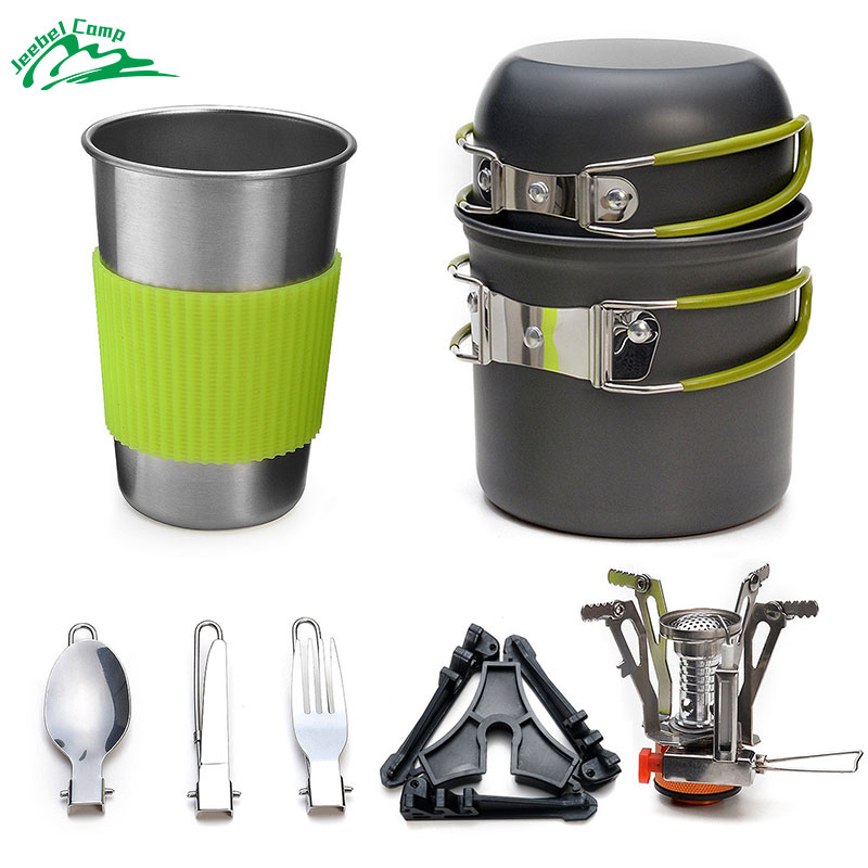 Jeebel Camping Cookware Stove Set Backpacking Outdoor Camping Hiking Picnic Burners Knife Spoon Kit Carabiner Canister Gas high quality fork and spoon set for outdoor camping picnic hiking