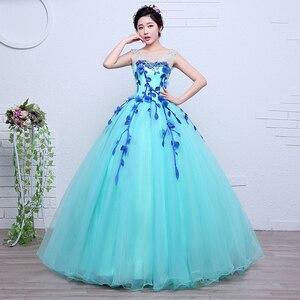 Image 3 - Robes De mariée colorées dorganza, robes De princesse bleue printemps, pour Studio Photo Paty, robe De mariée, modèle 100%