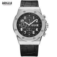 BAOGELA Для мужчин хронограф кварцевые часы кожаный ремешок армии Спорт световой наручные часы для человека 3Bar Водонепроницаемый 1805 серебряный черный